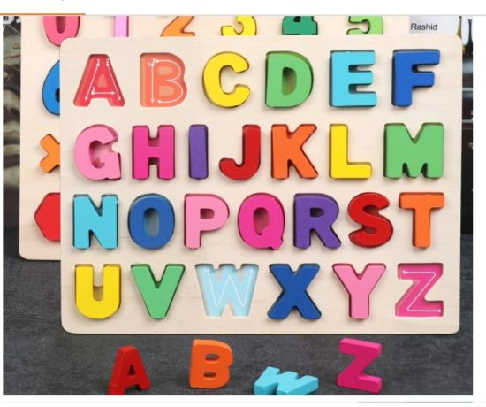 Wooden Upper Case Letter and Number Learning Board Toy - Ideal for Early Educational Learning
