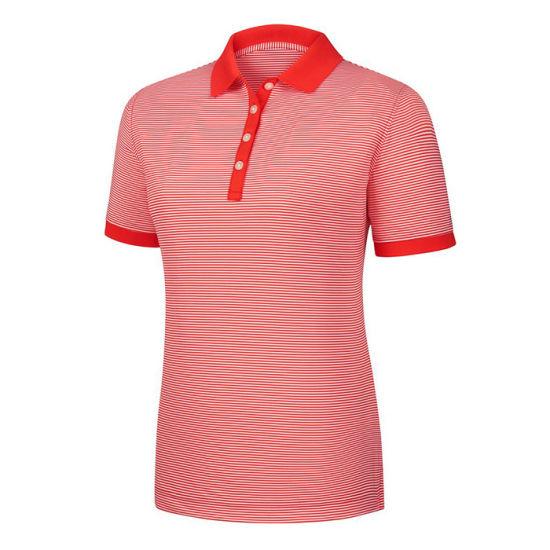 Customized Design Golf Lady Striped Polo T-Shirt