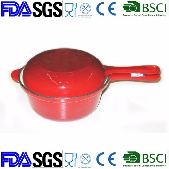 China Enamel Cast Iron Saucepan With Double Use Lid As Frypan