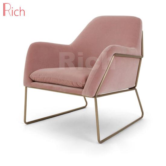 Metal Frame Leisure Chair Pink Velvet Armchair In Living Room