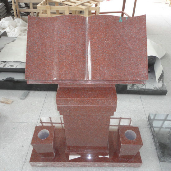 Ruby Red Granite Open Bible Cremation Pedestal Headstone pictures & photos