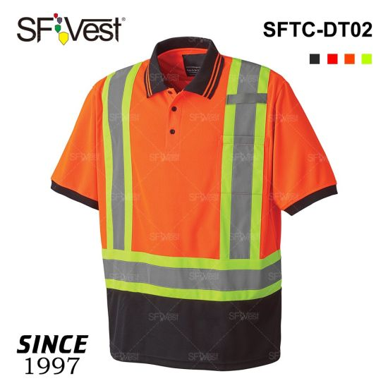 100% Polyester Security Polo High Visibility T-Shirt Reflective Safety Workwear