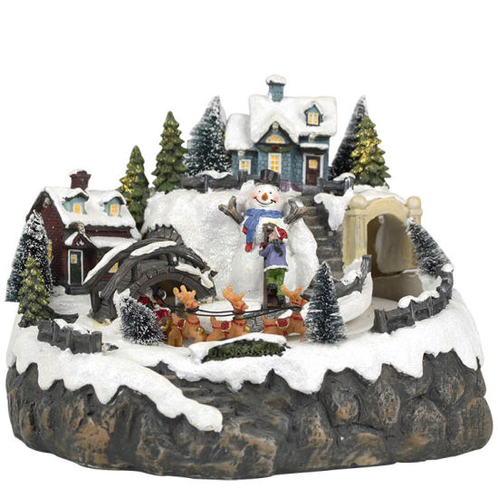 Warm White LED Light Snow Village Scene Polyresin Christmas Decoration