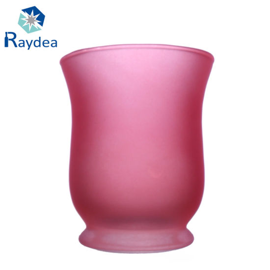 China Custom Glass Vase With Frosting And Pink Painting China