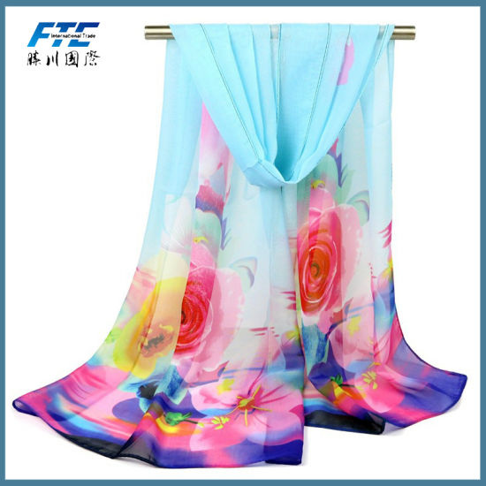 High Quality Flower Printed Silk Chiffon Infinity Spring Scarf pictures & photos
