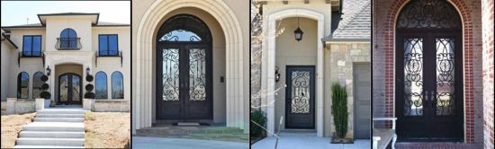 Commercial Wrought Iron Entry Door with Hand-Forged