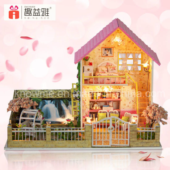 Miniature Wooden Toy DIY House Building Model For Birthday Gift Pictures Photos