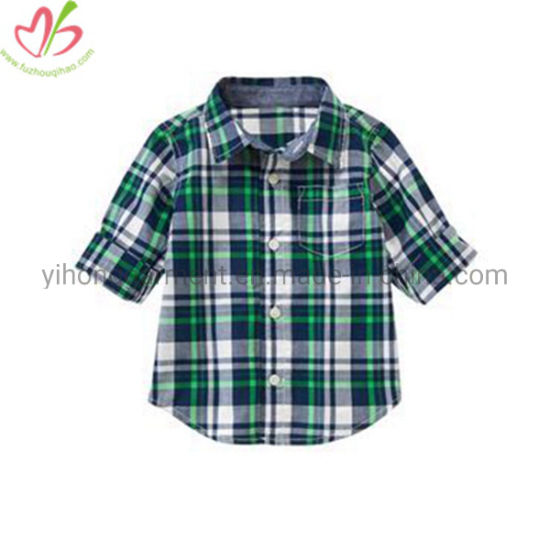New Designs Summer Cotton Plaid Boys Blouse with Different Collars pictures & photos