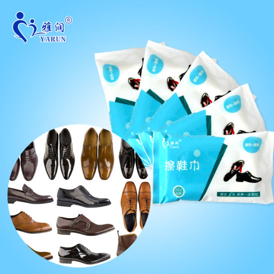 10 PCS Thick Nonwoven Cleaning and Care Leather Shoes Wet Wipes pictures & photos