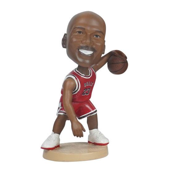 Wholesale Polyresin Famous NBA Superstar Baller Michael Jordan Action Figure Car Dashboard Bobble Head for Souvenir