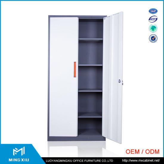 Luoyang Mingxiu Low Price 2 Swing Door Metal Locker Storage Cabinet / Steel Filing Cabinet