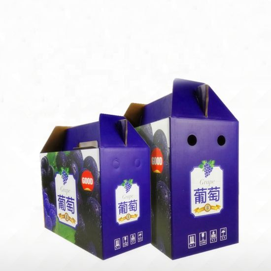 Manufacturer Luxury China Qingdao Custom Logo Printed Full Color Grape Apple Gift Packaging Carton Box with Handle