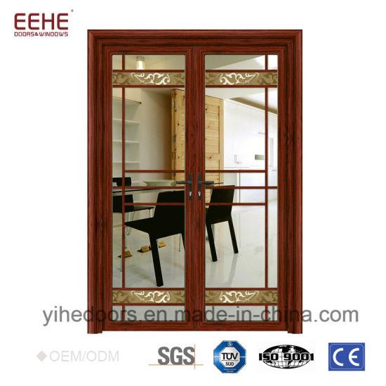 China Modern Aluminium Glass Door Design Double Leaf Glass Door