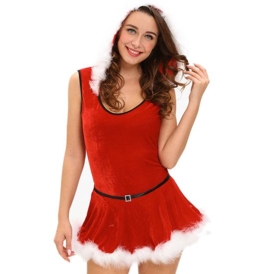 Soft Fur Trim Red Santa Teddy And Skirt Latex Christmas