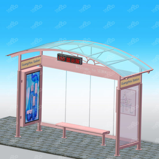 Street Furniture Advertising Structural Steel Prices Bus Kiosk with Bench  and LED