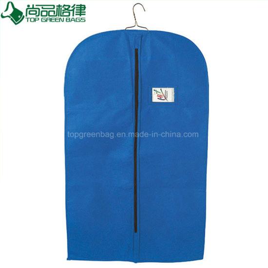 Reusable Non-Woven Suit Cover Foldable Garment Bag with PVC Pocket