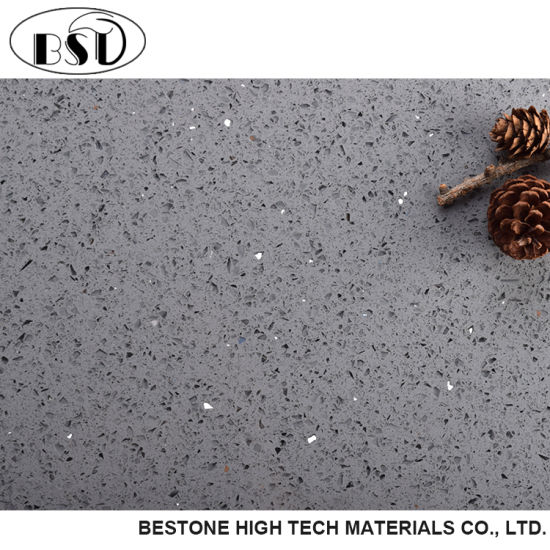 China Gray Sparkle Quartz Floor Tile China Quartz Tile Quartz