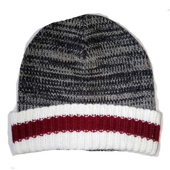 Winter Warm Fashion Marl Cuff Hat Cap with Stripe on Cuff