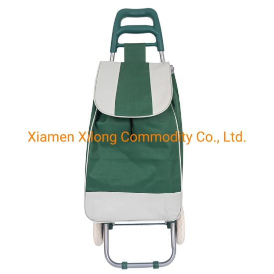 Oxford Dark Green Grocery Shopping Cart Folding Trolley Supermarket Two Wheels