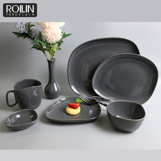 Hot Sale Dinner Set Irregular Plates Grey Tableware Decal Dinnerware Ceramic pictures & photos
