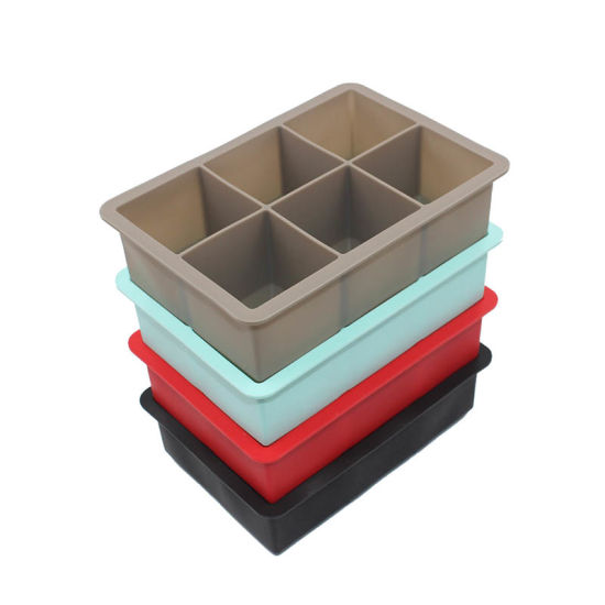 FDA Approved Non-Odor 6 Cavities Square Silicone Ice Cube Trays