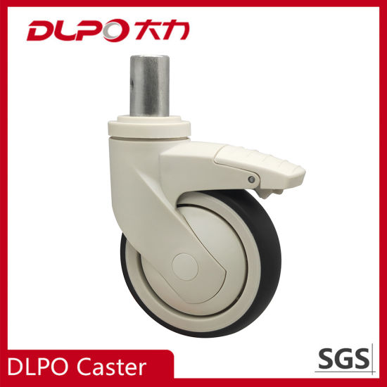 Dlpo M28*45 Plunger Stem Medium / Light Duty Hospital Equipment Caster Medical Wheel with Brake