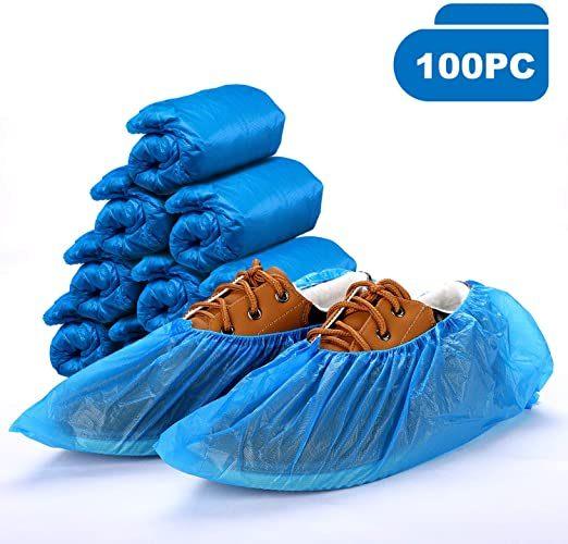 Shoe Boot Covers Carpet Protectors 100 Disposable BLUE PVC Plastic Over Shoes