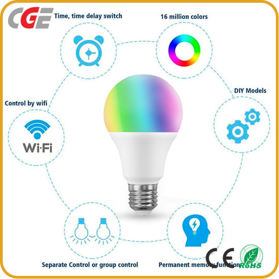 10W E27 LED Smart Light Bulb Multicolor Dimmable WiFi LED Light Bulb Compatible with Alexa Google Home