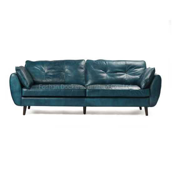 3 Seaters Vintage Leather Sofa, Blue Leather Furniture