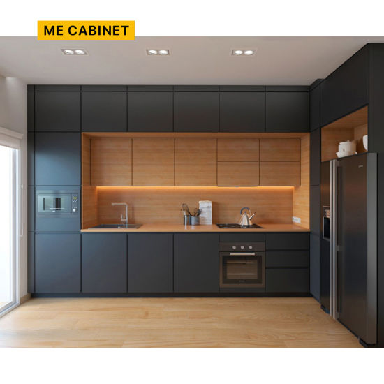 Mecabinet Kitchen Furniture Kitchen Cupboard China Suppliers OEM/ODM Aisle Style Custom Cabinets Natural Stone Table Material PVC Kitchen Cabinet for Home