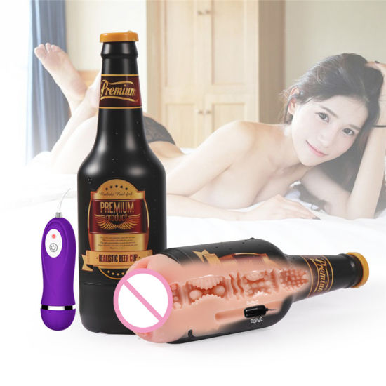 10 Mode Vibrating Beer Bottle Masturbation Cup Tight Lifelike Pussy Vacuum-Fired Vagina Types Waterproof Sex Toys for Men