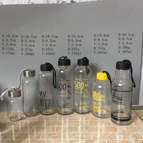 Hot Selling 150ml 300ml 500ml Empty Clear Sports Glass Drinking Water Bottle with Sleeve Screw Cap pictures & photos