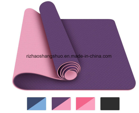 Eco-Friendly TPE Non-Toxic Private Label Yoga Mat with Strap pictures & photos