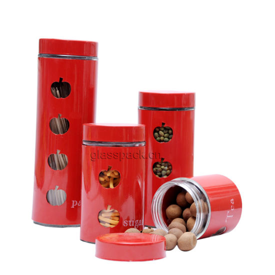 Amazon Hot Sale Kitchen Canister with Stainless Steel Cover and Cap pictures & photos