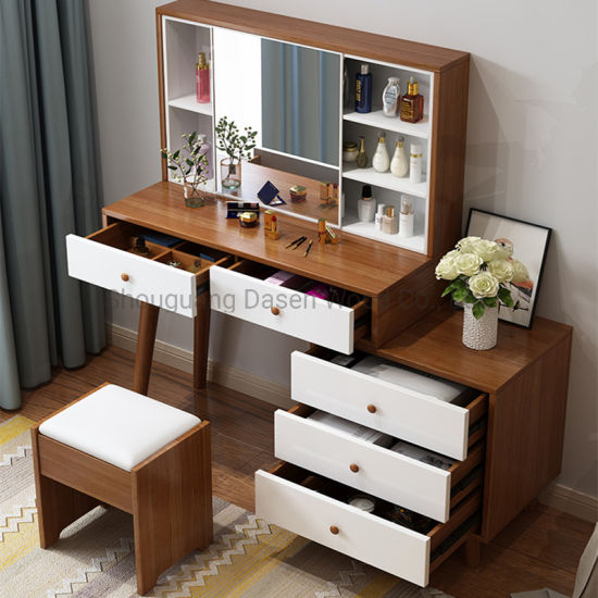 New Modern Customized Wooden Dresser Dressing Table with Mirror and Dressing Stool