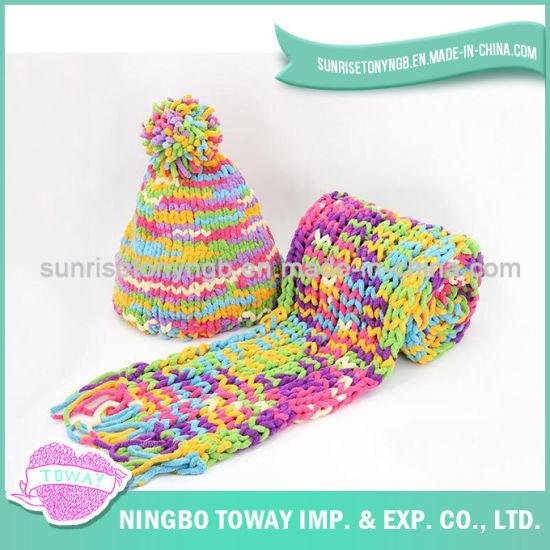 Cotton Colorful Fashion Woven Acrylic Long Crochet Scarf