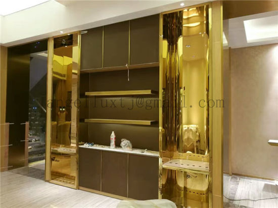 China Foshan Factory Modern Design Golden Color 304 Stainless Steel Furniture Display Rack Customized Cabinet pictures & photos