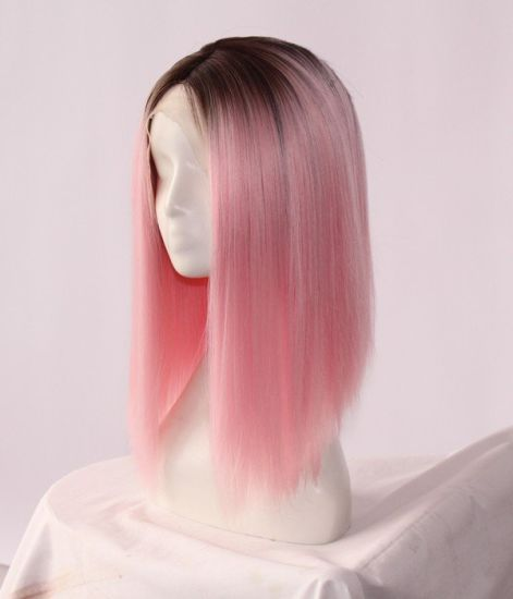 "12"" Lace Front Wig Kanekalon Synthetic-Fiber-High-Density 180% Ombre-Black/Pink Silk-Straight-Factory-Customized-Order-CIF-Price-to-Europe-and-North-America"