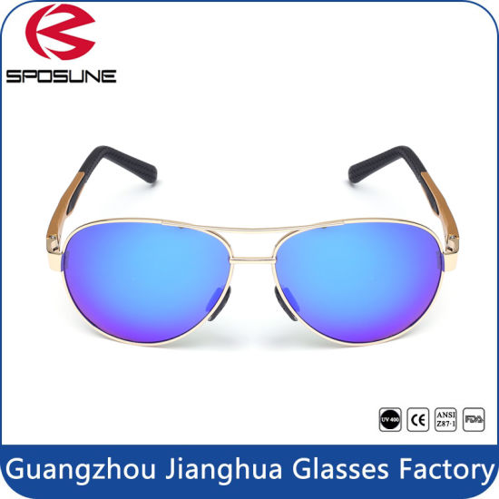 46c863ec21 Metal Frame Lens Reflective Mirrored HD Vision Pilot Sunglasses pictures    photos