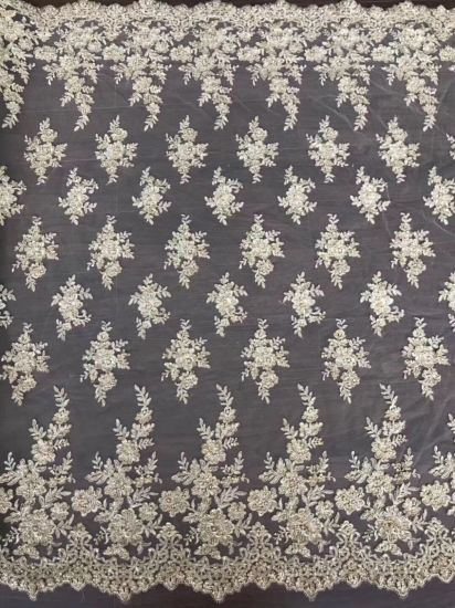 Voile Bridal Wedding Beautiful 3D Flowers Lace with Beads and Rhinestones High Quality Nigerian Mesh Lace Fabric