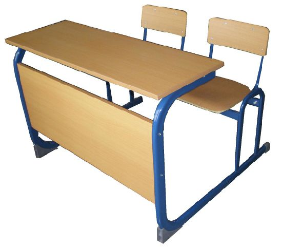 High Quality Double School Student Desk Attached Chairs Reading Study Desk for School