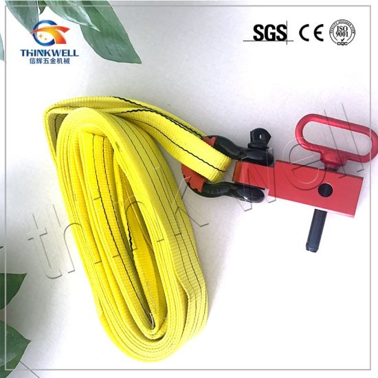 strong tow strap/winch strap with hitch receiver pictures & photos