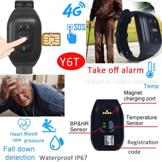 2021 Latest IP67 Waterproof 4G LTE Thermometer Safety GPS Bracelet Tracker with Heart Rate Blood Pressure Take off Alarm Y6T