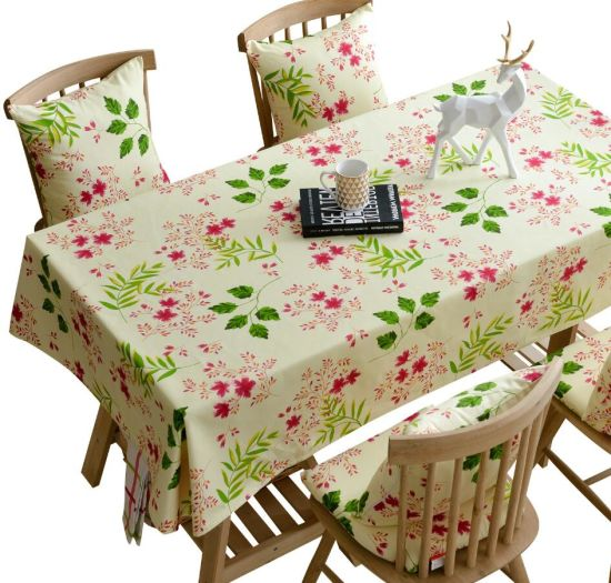 Bright Color Cotton Table Cloth with Printing Leaves and Flowers