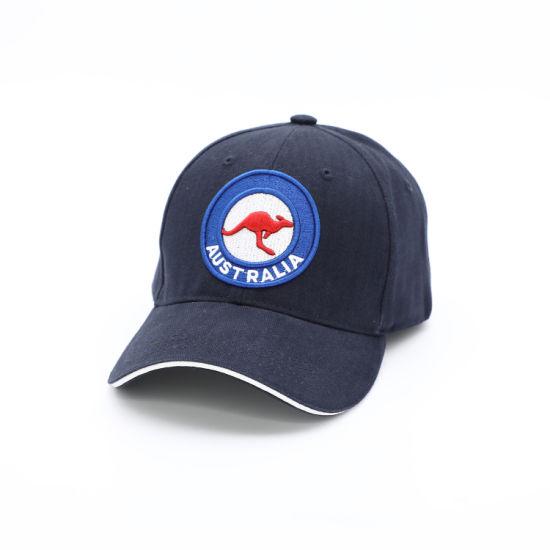 Souvenir Wholesale Australia Kangaroos Twill Cotton 6 Panel Blue Baseball Cap with Embroidery