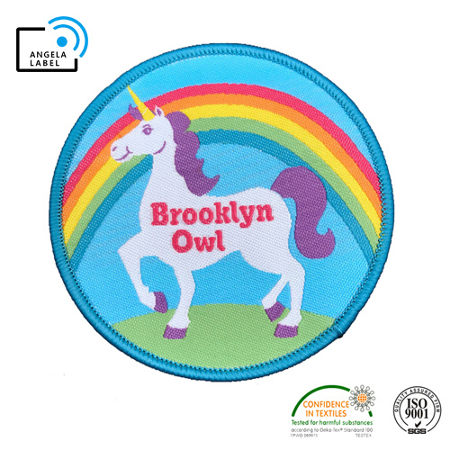 Custom Color Unicorn Kids Iron on Woven Cloth Patches pictures & photos