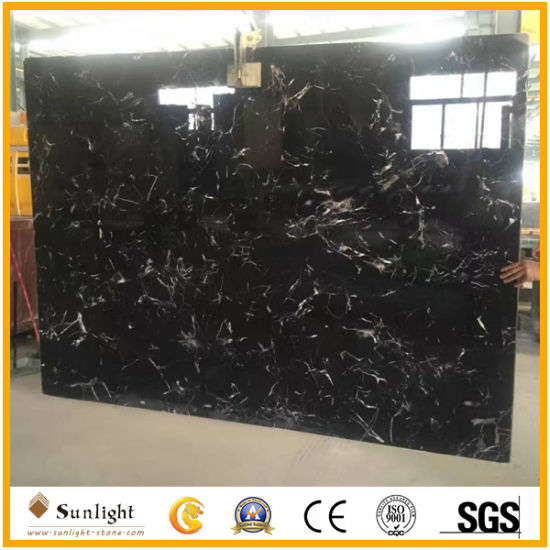 Discount Black Ice Flower Marble (With White Veins) Slabs, Black Marble