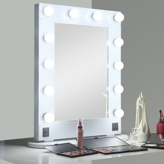 Hollywood Lighted Makeup Mirror With Aluminum Frame