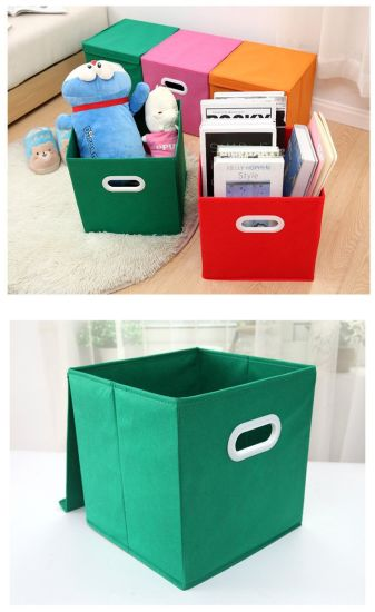 Japanese Style Cube Non Woven Colorful Fabric Cloth Storage Container Box with Metal Handle & China Japanese Style Cube Non Woven Colorful Fabric Cloth Storage ...