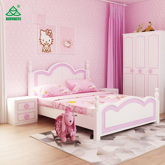 Princess Beautiful Design White PU Kids Bed Bedroom Furniture Children Bed